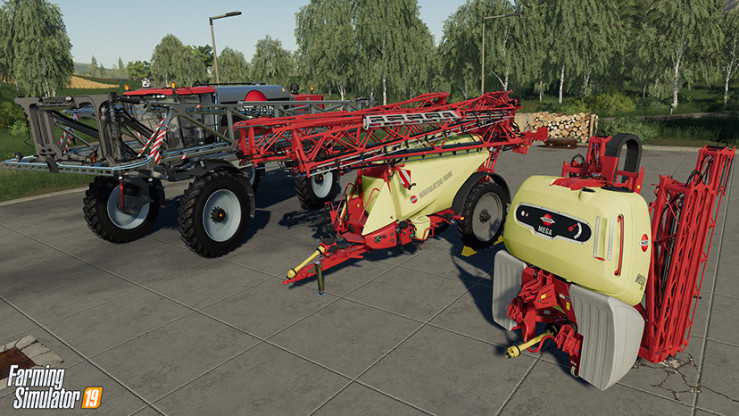The lineup of HARDI sprayers featured in Farming Simulator 2019